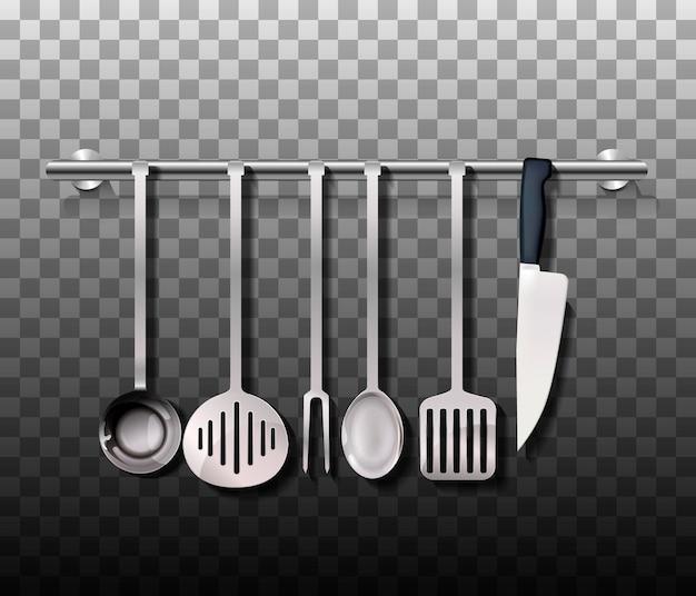 Set di posate realistico. utensile da cucina in argento o acciaio isolato su priorità bassa. vettore