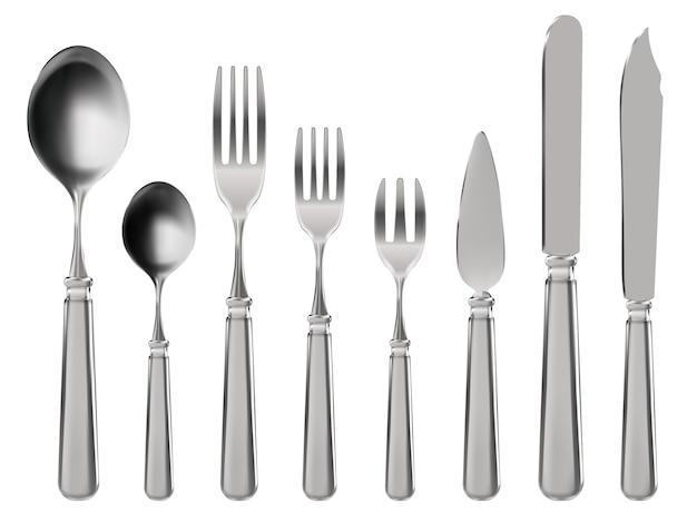 Posate realistiche. stoviglie, coltello, cucchiaio e forchette in acciaio inossidabile.