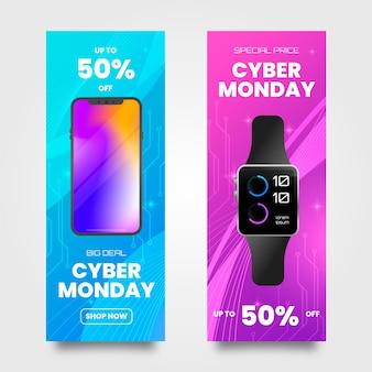Banner realistico di cyber lunedì