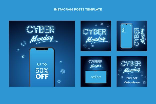 Raccolta realistica di post instagram di cyber lunedì