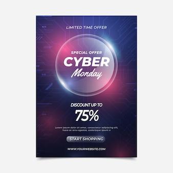 Modello di poster verticale realistico del cyber lunedì