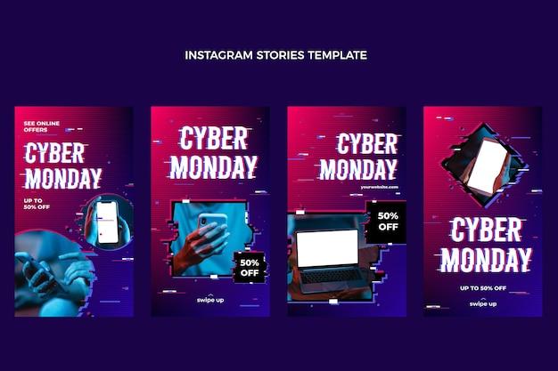 Raccolta di storie di instagram di cyber lunedì realistico cyber realistico