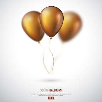 Palloncini d'oro lucidi realistici