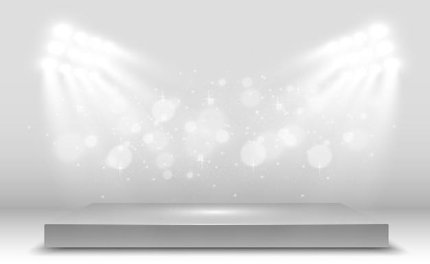 Realistico d light box con sfondo della piattaforma per la mostra spettacolo spettacolo di design illustrazione vettoriale di lightbox interni studio podio con faretti