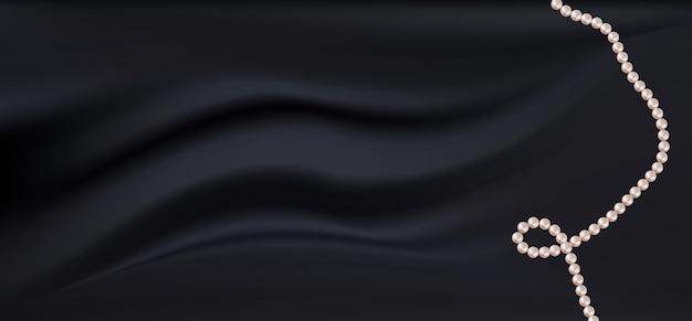 Realistico tessuto in raso di seta nero scuro con perle