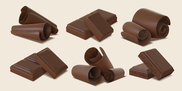 Scaglie, scaglie, riccioli e pezzi di barretta realistici di cioccolato fondente. spirali dolci della caramella del cacao 3d. insieme di vettore delle fette di cioccolato amaro o al latte. delizioso dessert e snack isolati elementi
