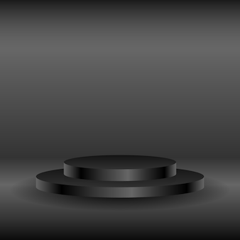 Palcoscenico scuro realistico con piedistallo vuoto per l'esposizione del prodotto o luogo per la presentazione