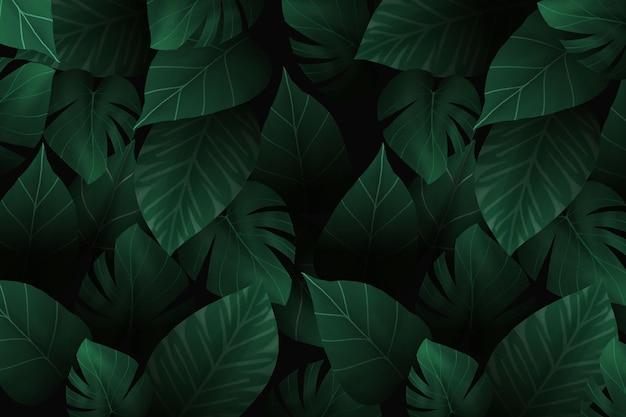Realistico sfondo scuro foglie tropicali