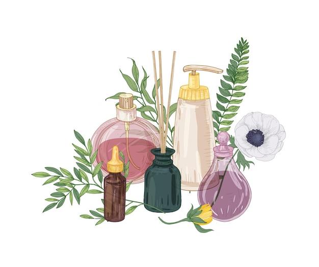 Composizione decorativa realistica con profumo e cosmetici in boccette di vetro, bastoncini di incenso e fiori che sbocciano su bianco