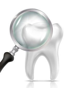 Icona realistica del dentista con dente e lente d'ingrandimento