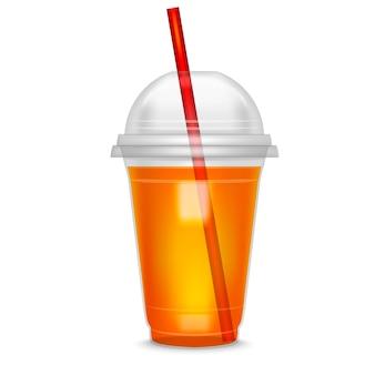 Realistico dettagliato cocktail tazza di plastica strega paglia e bevande, bevande, liquidi o succhi freschi.