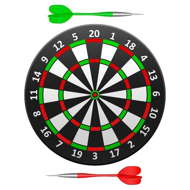 Realistico dettagliato bersaglio per freccette strega freccia, gioco sportivo isolato su uno sfondo bianco. illustrazione vettoriale