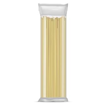 Pasta di spaghetti realistici dettagliati in una confezione di cellophane trasparente cibo italiano. illustrazione vettoriale