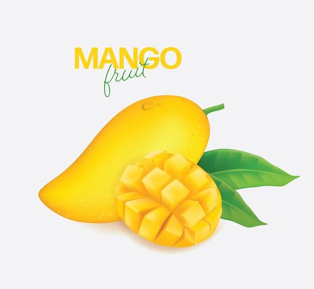 Realistico dettagliato intero e pezzi di mango