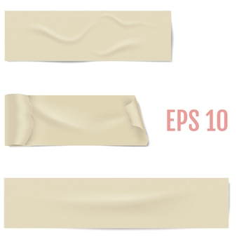 Realistiche diverse fette di nastro adesivo con ombre e rughe isolate su un bianco. nastro adesivo adesivo. illustrazione