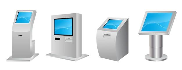Chiosco informativo digitale realistico sistema di chiosco terminale digitale moderno isolato interattivo Vettore Premium