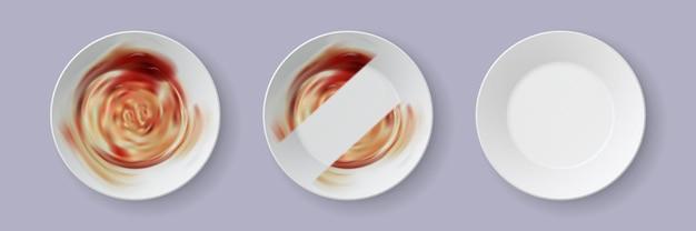 Piatto sporco realistico. processo di pulizia del piatto della cena con detersivo per piatti. piatti 3d con avanzi di cibo e modello vettoriale a strisce pulite. illustrazione disordine di utensili in salsa, pasto dopo cena Vettore Premium