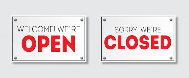 Cartello porta realistico con ombra. mi dispiace, siamo chiusi. benvenuto siamo aperti