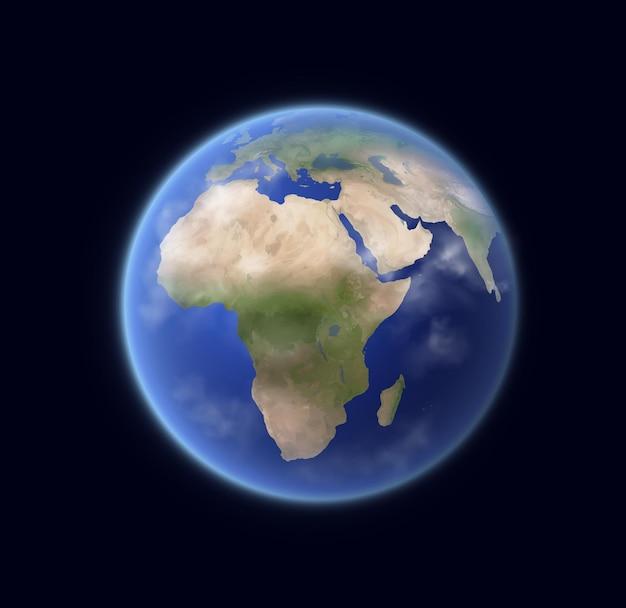 Globo terrestre realistico, pianeta 3d del sistema solare