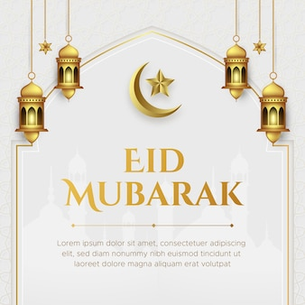 Illustrazione realistica di eid mubarak