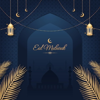 Modello realistico di banner di lusso eid mubarak