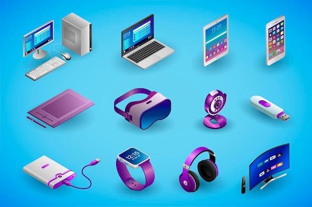 Dispositivi elettronici realistici e gadget in isometria illustrazione isometrica vettoriale dei dispositivi