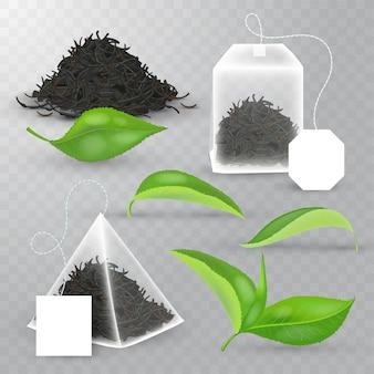 Insieme di elementi realistico di tè nero. foglie fresche, bustina di tè piramidale, bustina di tè rettangolare, tè secco nero in pila.