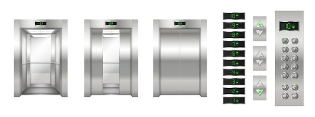 Set di ascensori realistici: porte in metallo cromato aperte e chiuse e primo piano del pannello dei pulsanti. moderna cabina dell'ascensore per passeggeri o merci. illustrazione vettoriale 3d