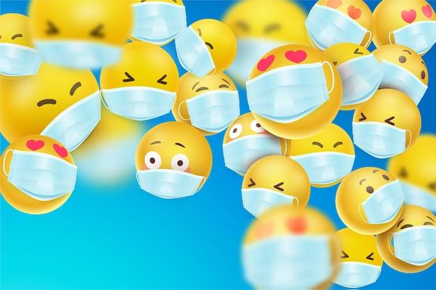 Emoji realistiche con sfondo di maschera facciale