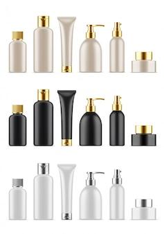 Set di flaconi per la cosmetica vuoti realistici. raccolta del pacchetto di plastica metallica modello vuoto con cappuccio d'argento