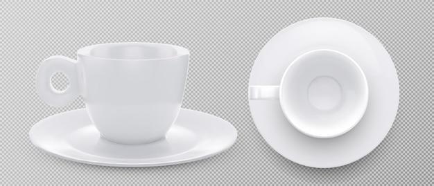 Tazza vuota realistica per tè al caffè. illustrazione vettoriale