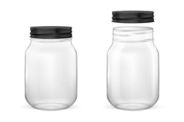 Realistico barattolo di vetro vuoto per conserve e set di conservazione con coperchio nero aperto e chiuso primo piano è