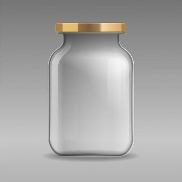 Vaso di vetro vuoto realistico per inscatolare e conservare con il primo piano del coperchio dell'oro su sfondo trasparente. modello per mockup, pubblicità, branding. .