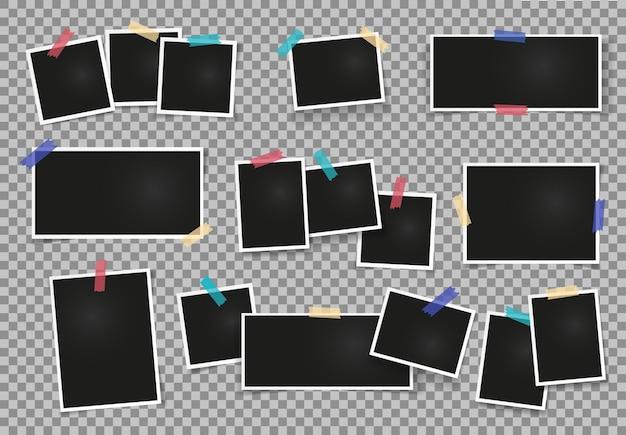 Cornice fotografica vuota realistica su nastro adesivo set di modelli di album fotografici per album di ritagli vintage