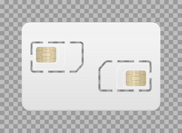 Scheda sim vuota realistica per telefono cellulare. scheda sim principale e aggiuntiva.