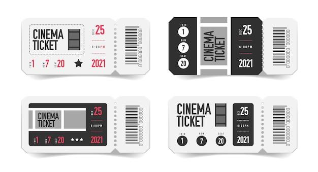 Set cinematografico realistico di biglietti vuoti con immagini isolate di coupon con codice a barre stampato e numero di posto