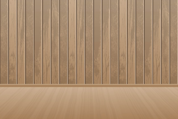 Realistica stanza vuota in legno con pavimento in legno