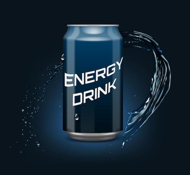 Realistico gradiente di bevanda energetica blu può con acqua intorno su sfondo blu scuro