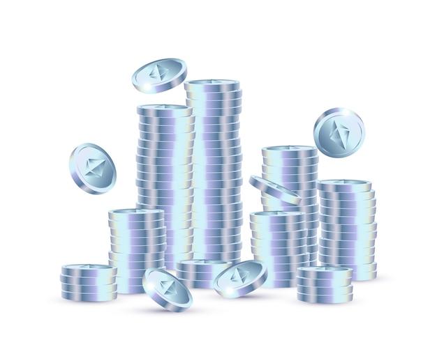Monete ethereum realistiche su sfondo azzurro illustrazione vettoriale
