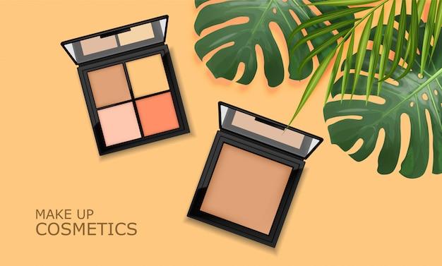 Realistico pacchetto ombretti, palette per il trucco, cosmetici eleganti, banner con foglie tropicali