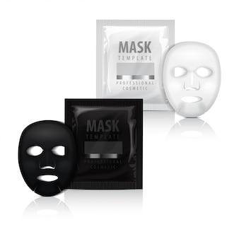 Realistico maschera facciale e bustina.