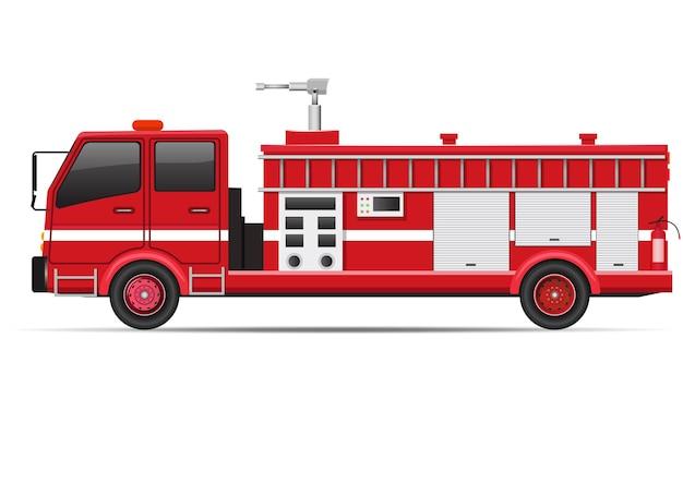 Vista laterale del camion dei pompieri realistica isolata su bianco. illustrazione vettoriale
