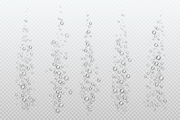 Bolle frizzanti realistiche. il carbonato subacqueo brilla sotto l'acqua dell'acquario isolata con gas gassoso. flusso di bolle