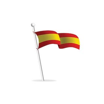 Bandiera realistica su sfondo bianco spagna vector illustration