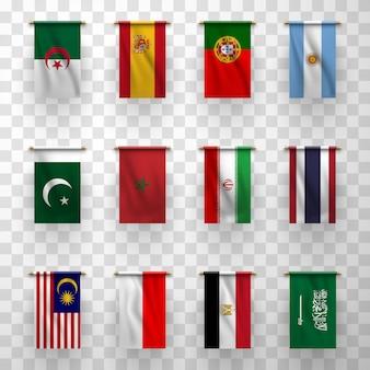 Icone realistiche delle bandiere, paesi nazionali simbolici Vettore Premium