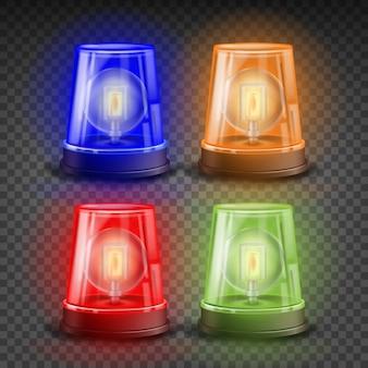 Set di sirene lampeggianti realistici