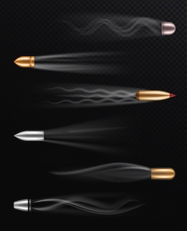 Proiettile volante realistico su sfondo trasparente