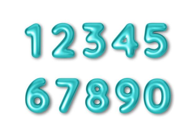 Numeri di colore blu del carattere realistico