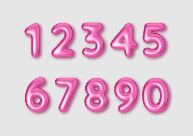 Numeri di colore rosa dei caratteri realistici. numero sotto forma di palloncini di metallo