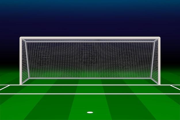 Obiettivo di calcio realistico sul campo di calcio.